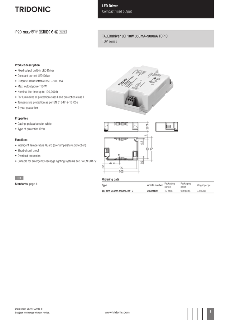 talexxconverter lci 10 w 350 \u2013 900 ma top c900ma Function Open Circuit Short Circuit And Over Loading Application #14