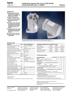 LEV200 series contactor data sheet - KILOVAC