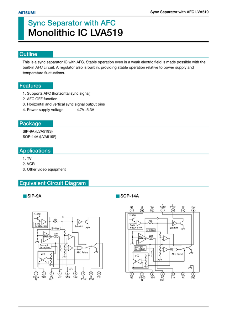 Sync Separator With Afc Monolithic Ic Lva519
