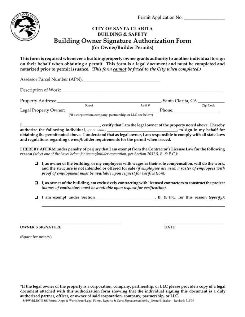 Building Owner Signature Authorization Form
