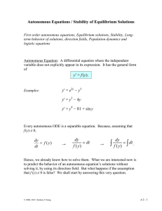 Autonomous Equations / Stability of Equilibrium Solutions