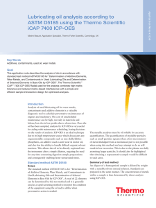 Lubricating Oil Analysis According to ASTM D5185 using the iCAP