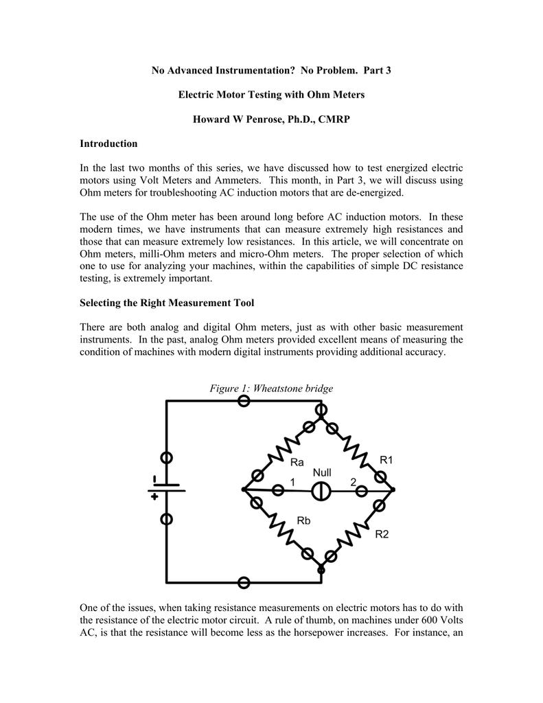 Circuit Resistance Testing Wheatstone Bridge Wiring Diagram