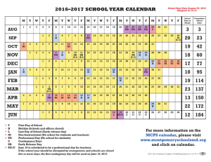 2016–2017 SCHOOL YEAR CALENDAR NOV DEC JAN FEB MAR