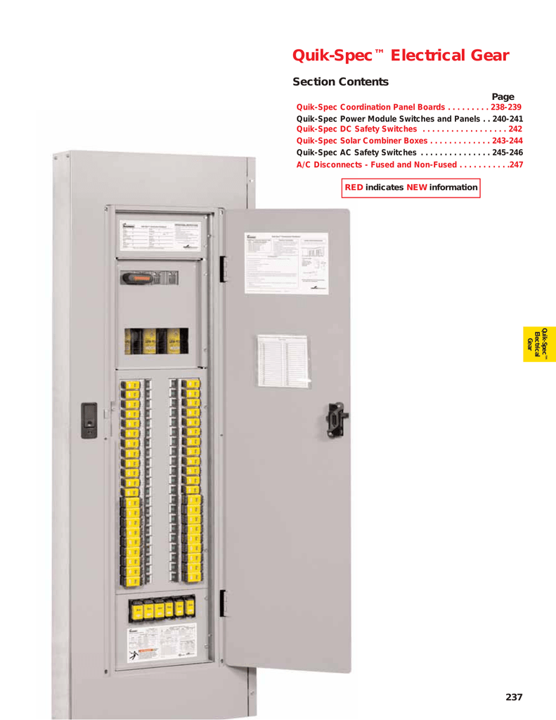 Quik Spec Electrical Gear Circuit Breaker Panel Image Page
