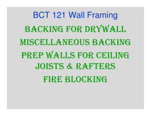 BACKING FOR DRYWALL MISCELLANEOUS BACKING PREP