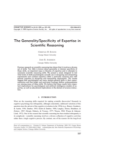The Generality/Specificity of Expertise in Scientific Reasoning