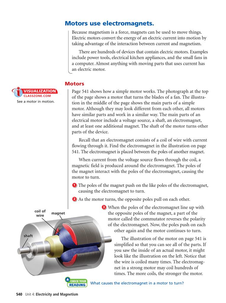 Motors use electromagnets