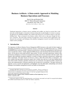 Business Artifacts: A Data-centric Approach to Modeling
