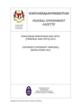 Tribunal Hak Cipta - Intellectual Property Corporation of Malaysia