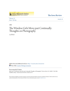 The Window Girls Move past Continually: Thoughts on Photography