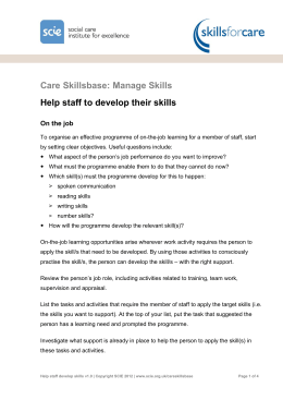 Help staff to develop their skills