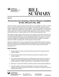 Prevent Iran from Acquiring a Nuclear Weapons Capability (H. Res