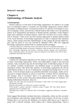 Epistemology of Domain Analysis