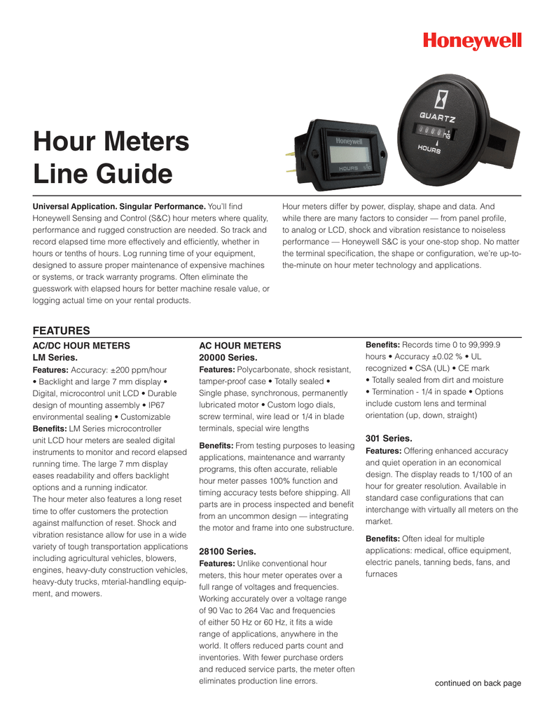 Hour Meters Line Guide - Honeywell Sensing and Control