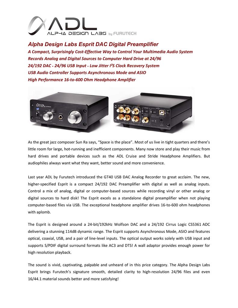 Alpha Design Labs Esprit DAC Digital Preamplifier