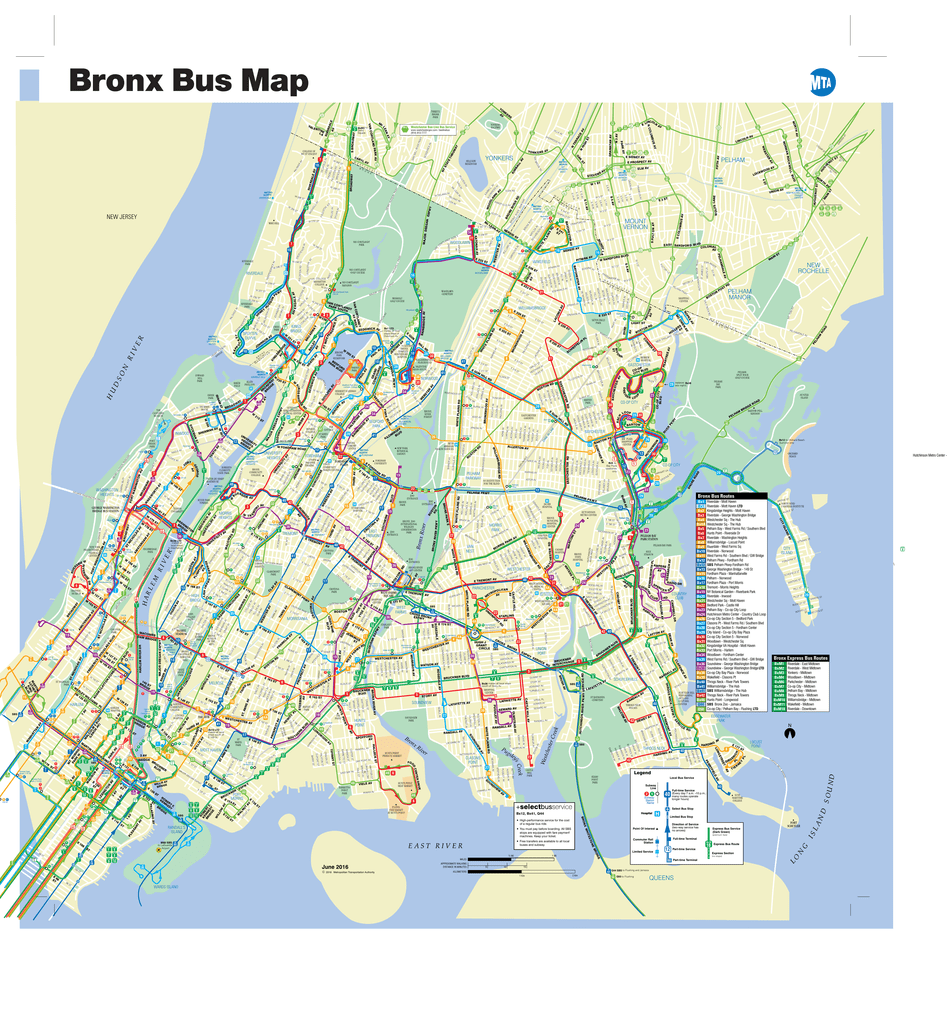 bronx bus map june 2016