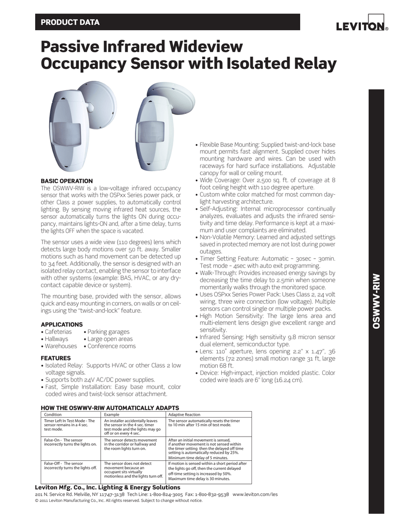 passive infrared wideview occupancy sensor isolated relay