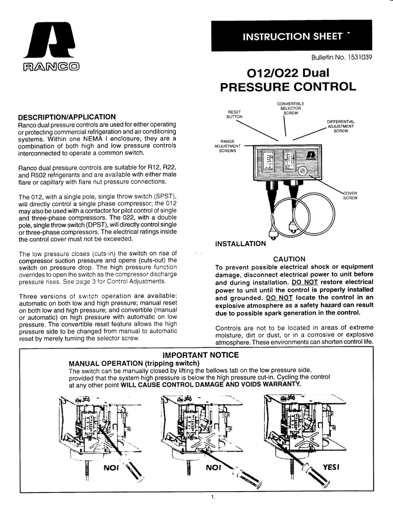 O12/O22 Dual Pressure Control Instruction Sheet