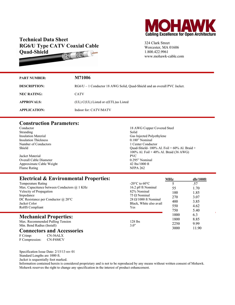Technical Data Sheet Rg6  U Type Catv Coaxial Cable Quad