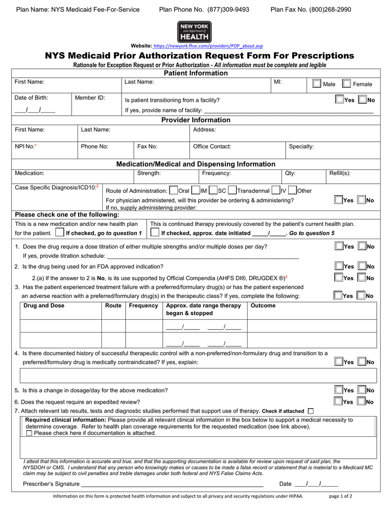 NYS Medicaid Prior Authorization Request Form For Prescriptions