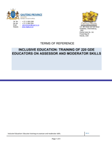 Inclusive Education: Educator training on assessor and moderator