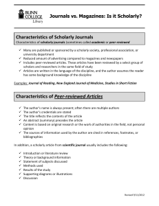 Characteristics Of Scholarly Journals