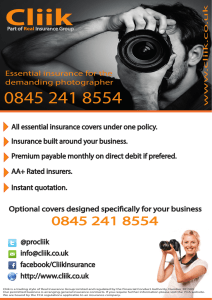 Optional covers designed specifically for your business All essential