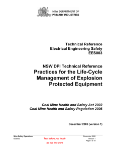 EES-003 Life Cycle Management of Explosion Protected Equipment