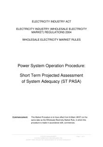 Power System Operation Procedure: Short Term Projected
