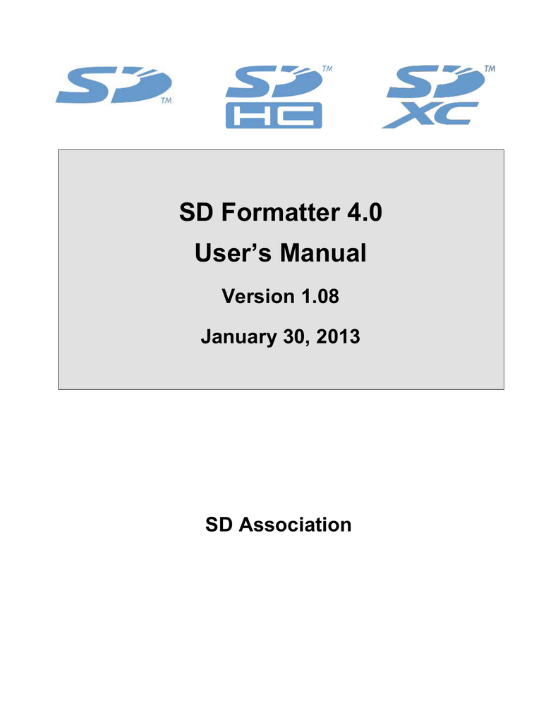 SD FOR GRATUITEMENT TÉLÉCHARGER FORMATTER 4.0 SD/SDHC/SDXC