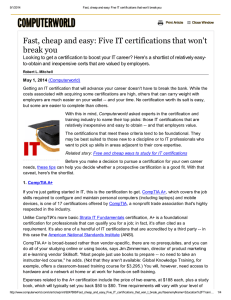 Fast, cheap and easy: Five IT certifications that won`t break you
