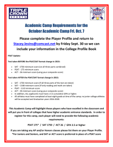 Academic Camp Requirements for the October Academic Camp Fri