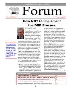 How NOT to Implement the DRB Process