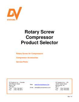 Rotary Screw Compressor Product Selector