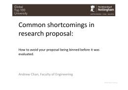 Common shortcomings in research proposal