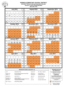 2016-2017 District Calendar - Perris Elementary School District