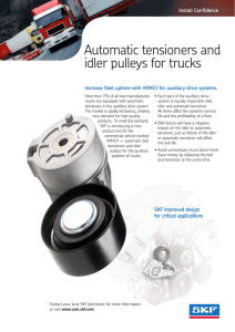 Automatic tensioners and idler pulleys for trucks
