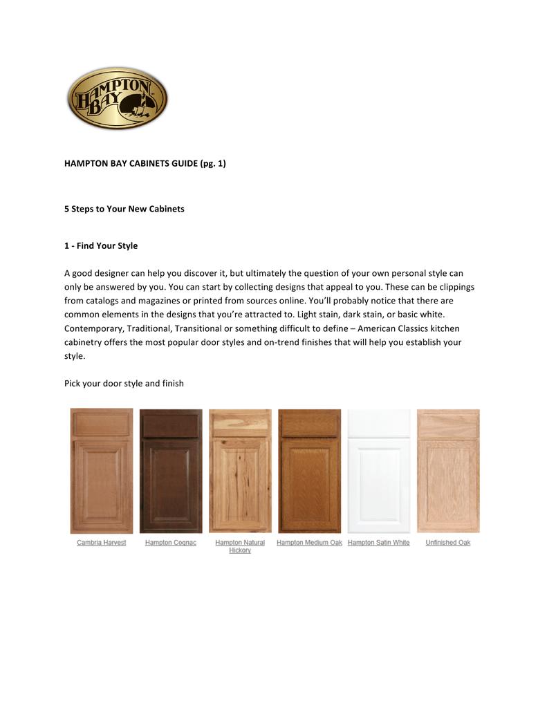 Hampton Bay Cabinets Guide Pg 1 5