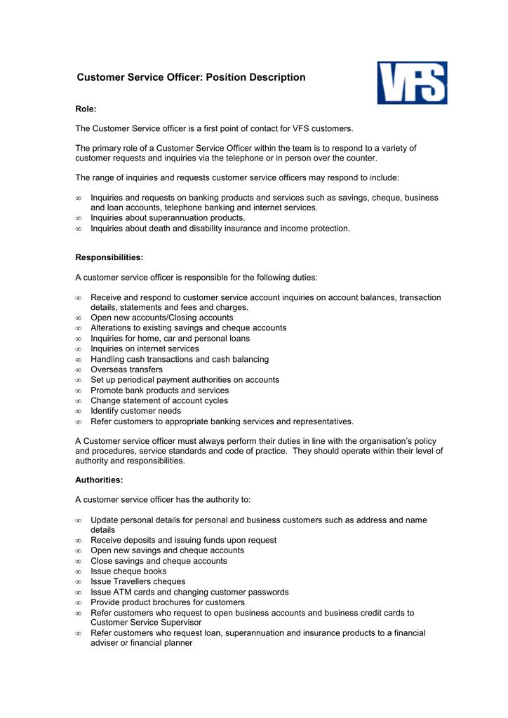 customer service officer  job description