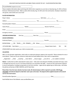 2016 SBSC Travel Soccer Tryout Player Registration Form