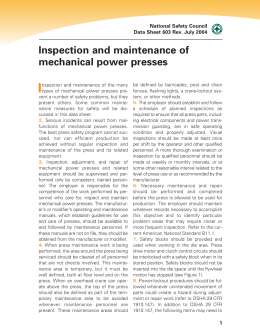 Inspection and maintenance of mechanical power presses