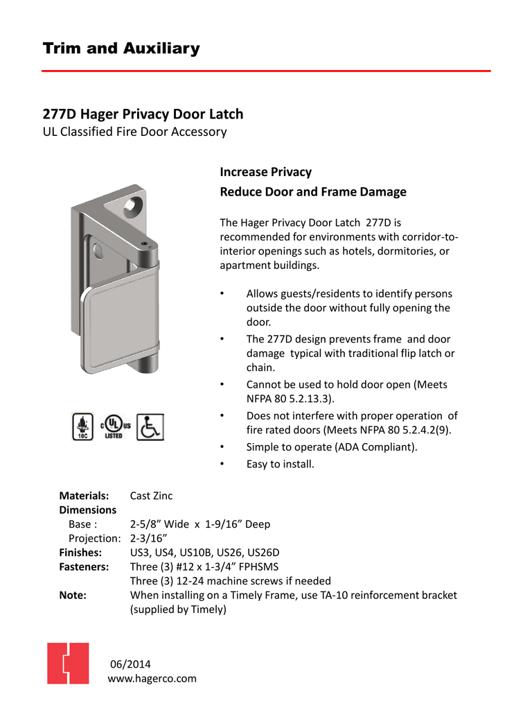 sc 1 st  studylib.net & Trim and Auxiliary 277D Hager Privacy Door Latch