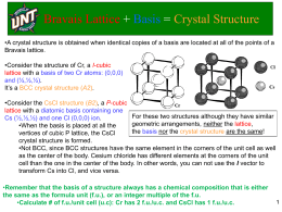 Bravais Lattice + Basis = Crystal Structure