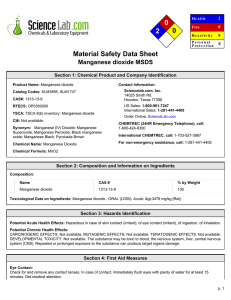 MSDS for Manganese dioxide