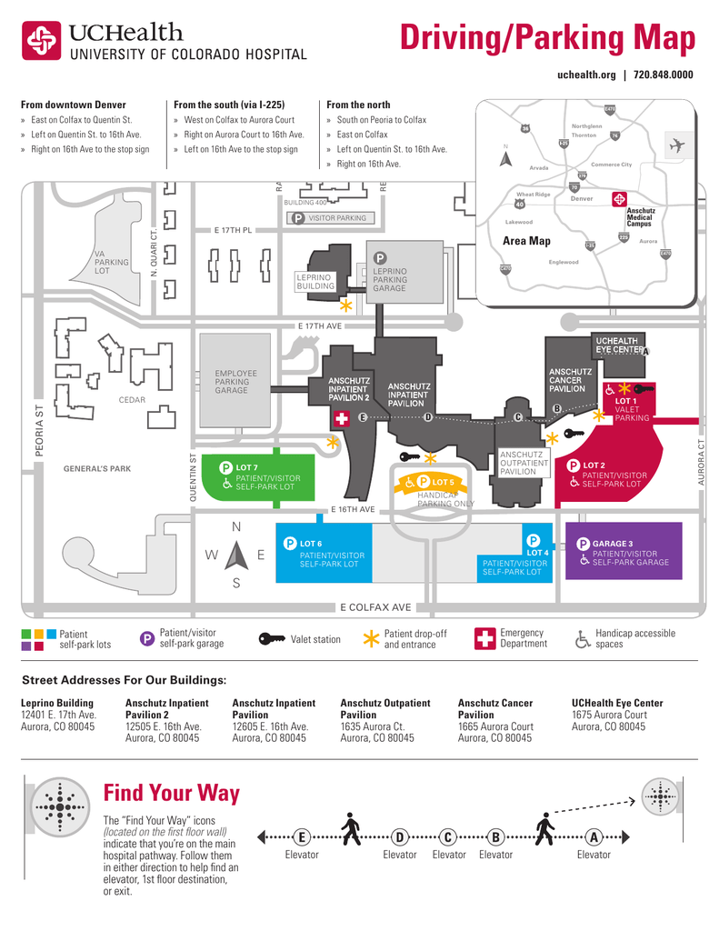 Driving/parking map for University of Colorado Hospital at Anschutz