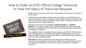View a PDF tutorial on ordering an official EFSC College Transcript