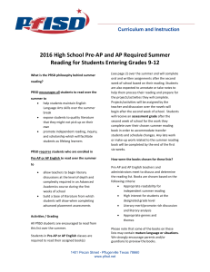 2016 High School Pre-AP and AP Required Summer Reading for