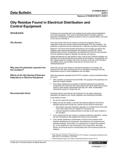 Oily Residue Found in Electrical Distribution