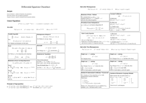 Differential Equations Cheatsheet